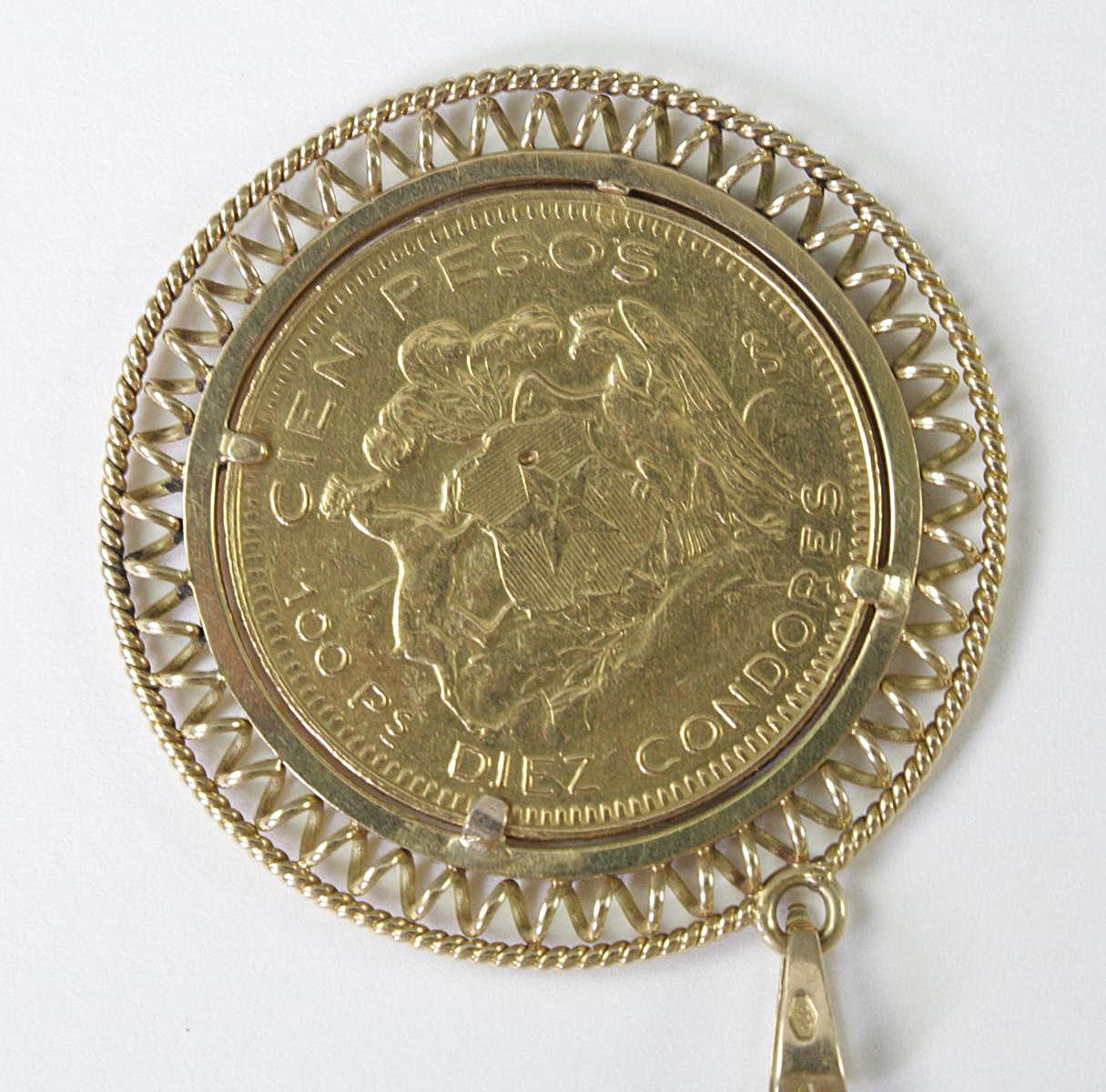 Zum Anhänger gefasste 100 Pesos Münze, Chile 1952-2