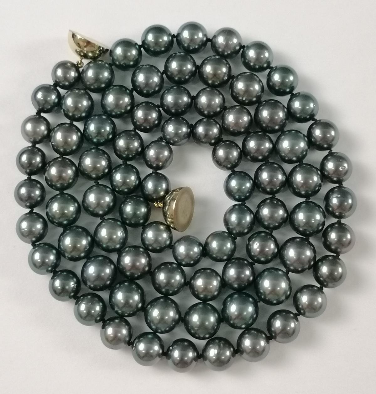 Halskette aus Tahitiperlen mit 14 Karat Gelbgold-Magnetverschluss-2