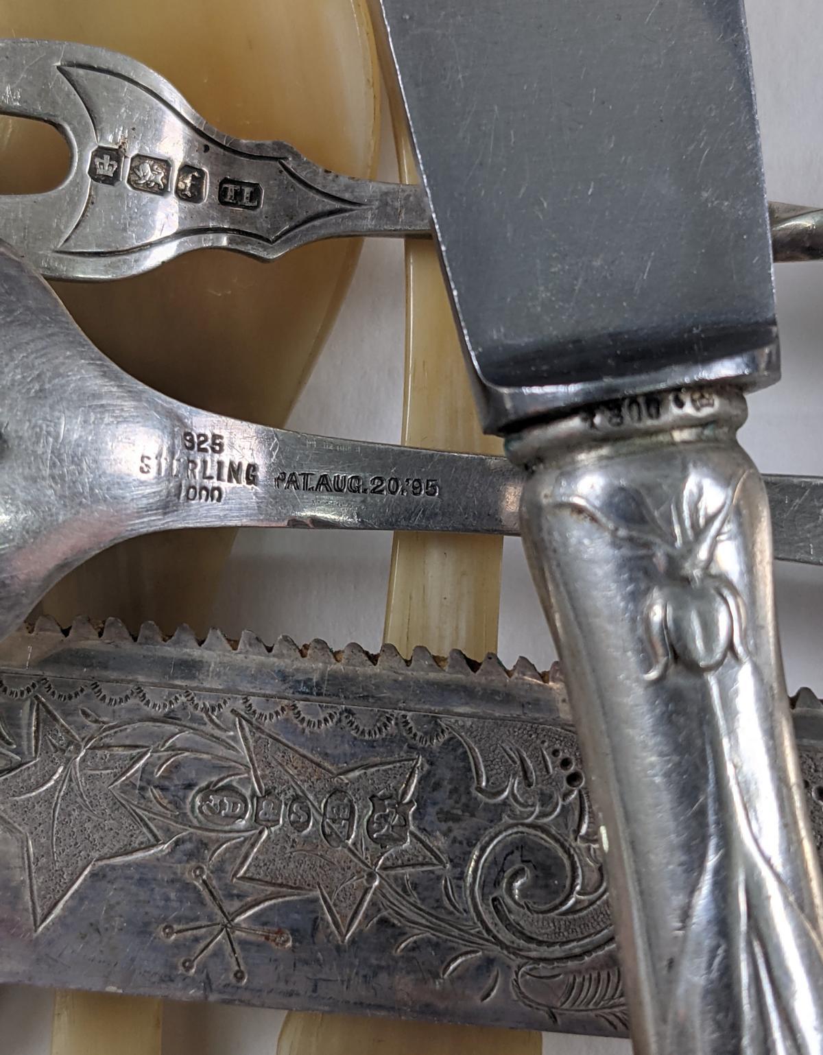 Konvolut antikes Besteck aus Silber, Horn und Elfenbein-3