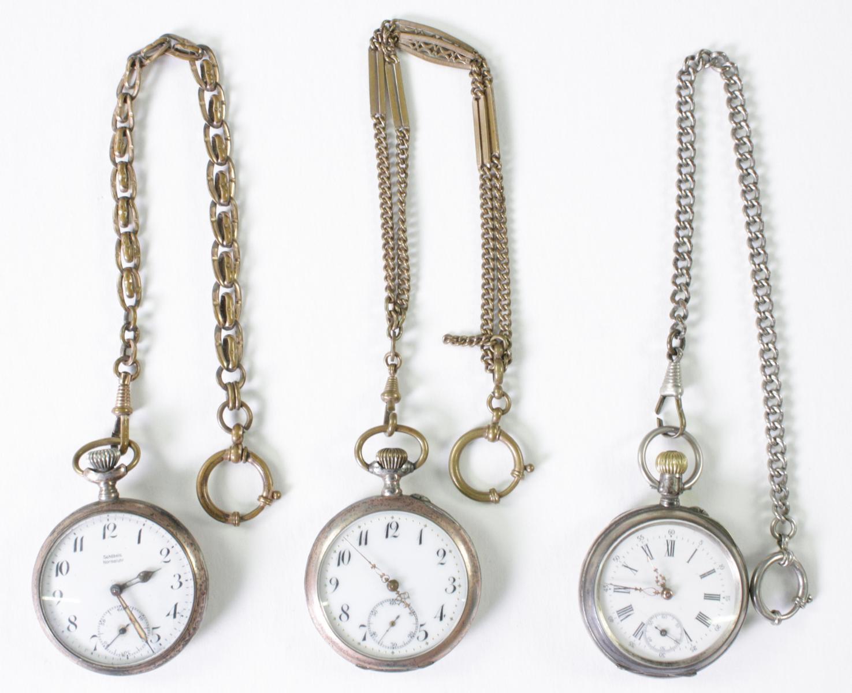 Drei antike Taschenuhren um 1900 aus Silber