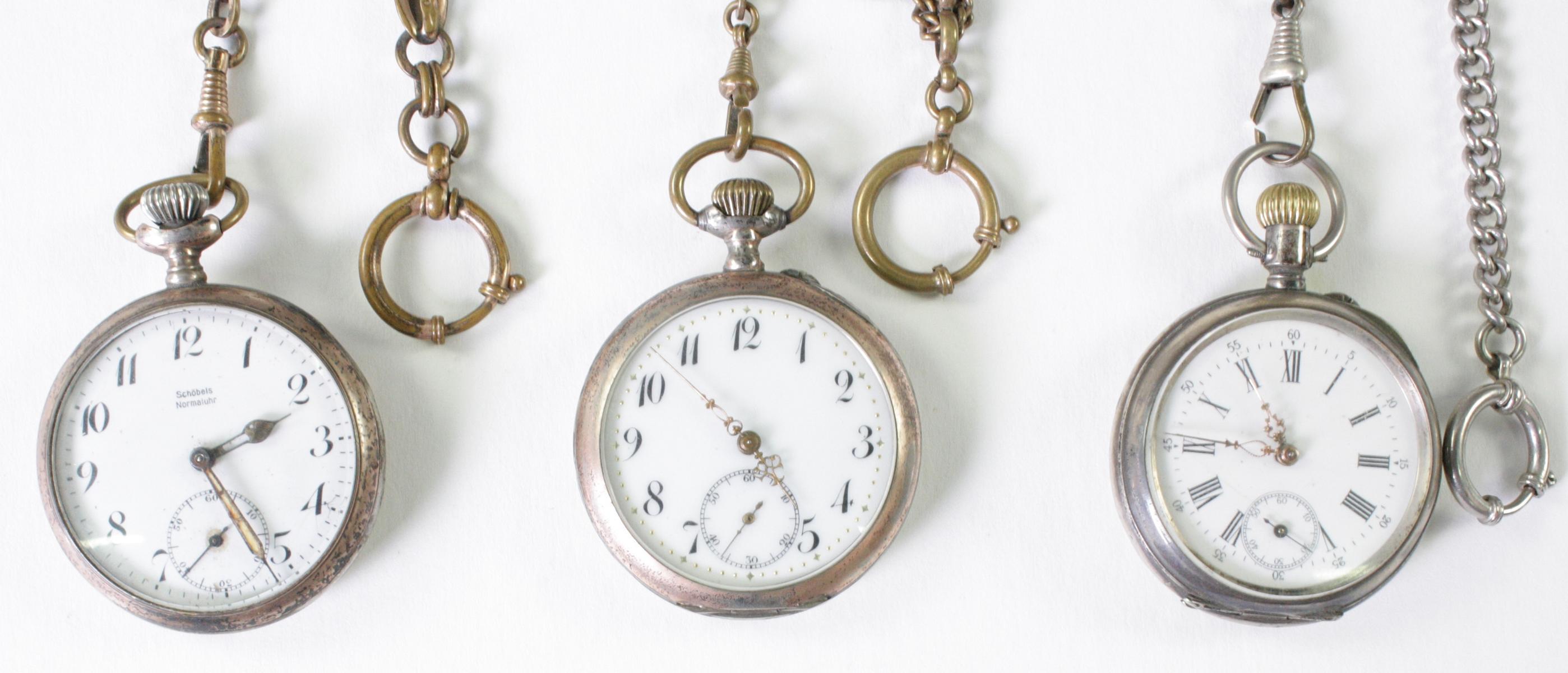Drei antike Taschenuhren um 1900 aus Silber-2