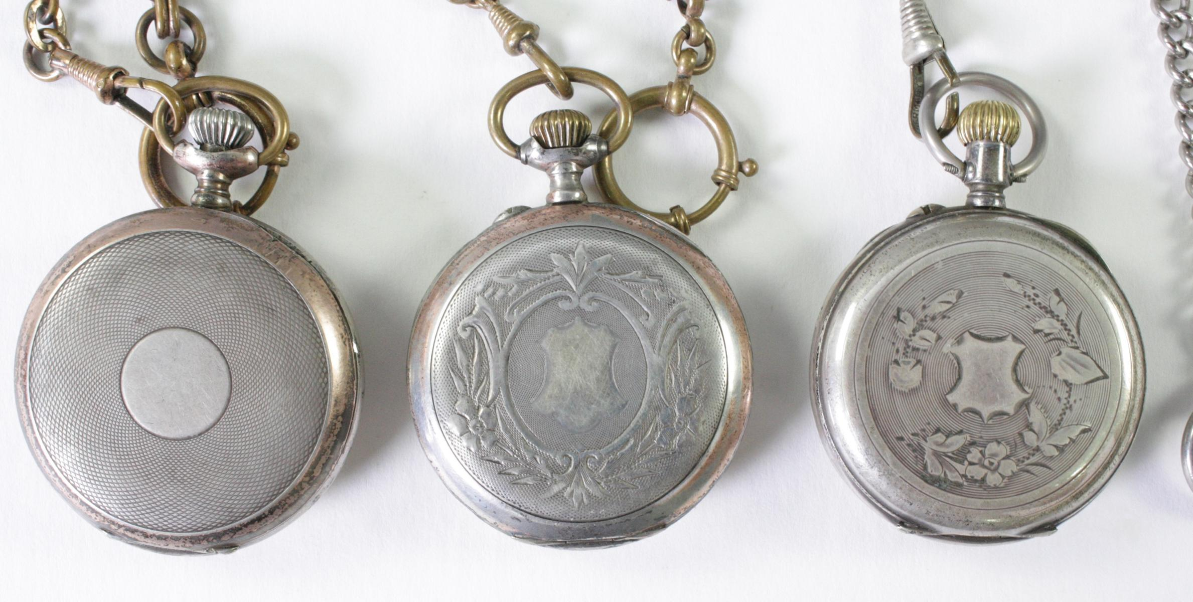 Drei antike Taschenuhren um 1900 aus Silber-3