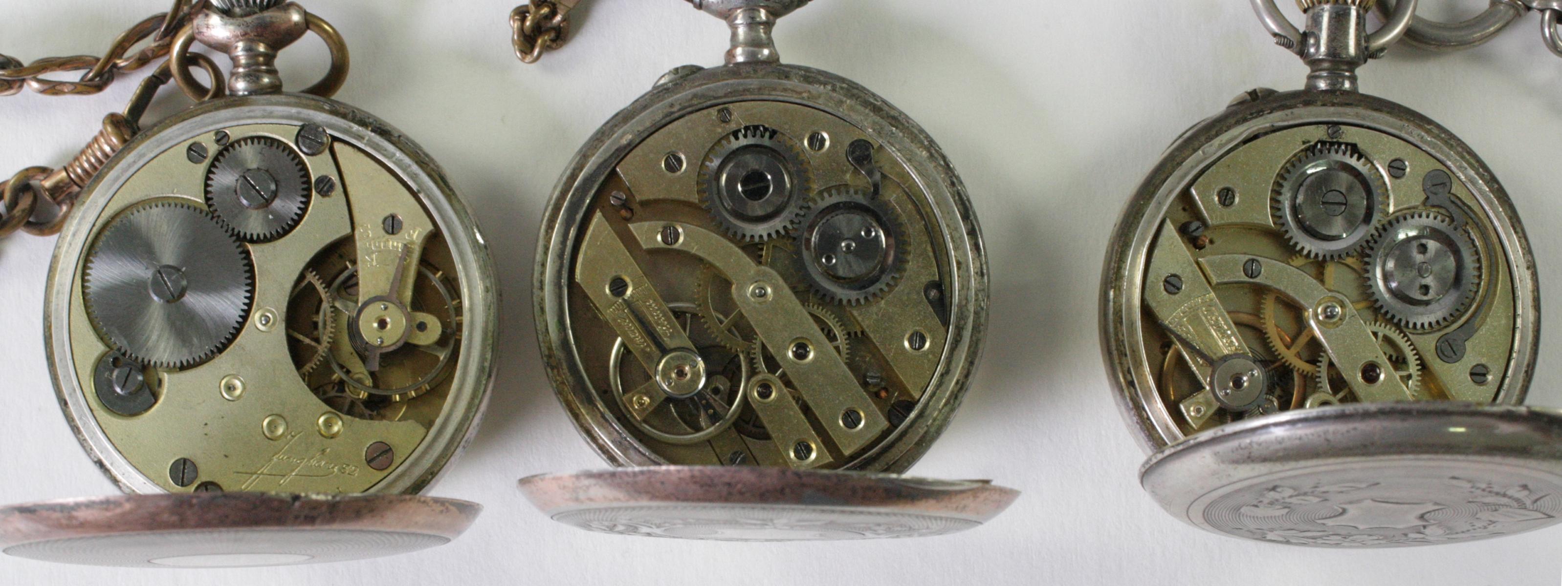 Drei antike Taschenuhren um 1900 aus Silber-4