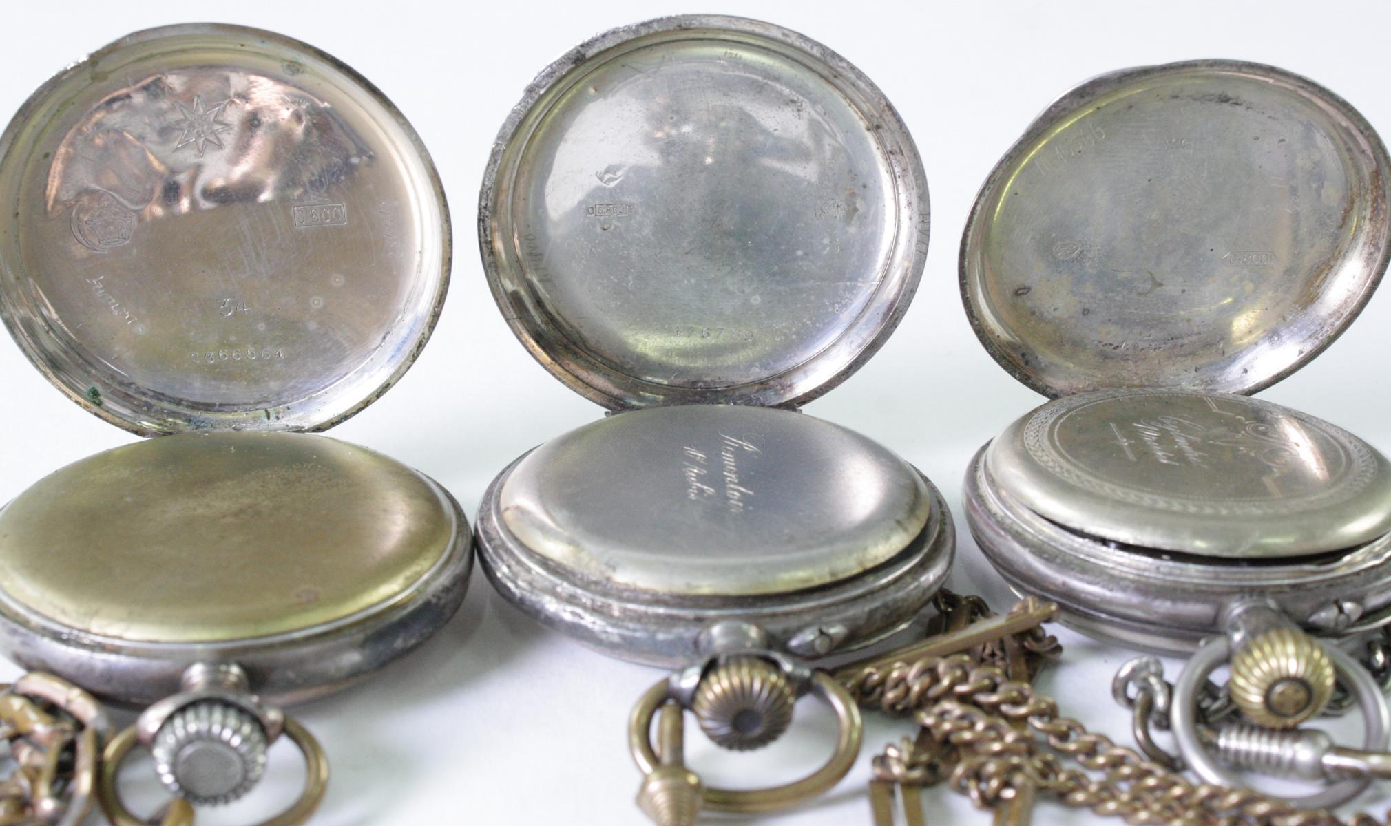 Drei antike Taschenuhren um 1900 aus Silber-5