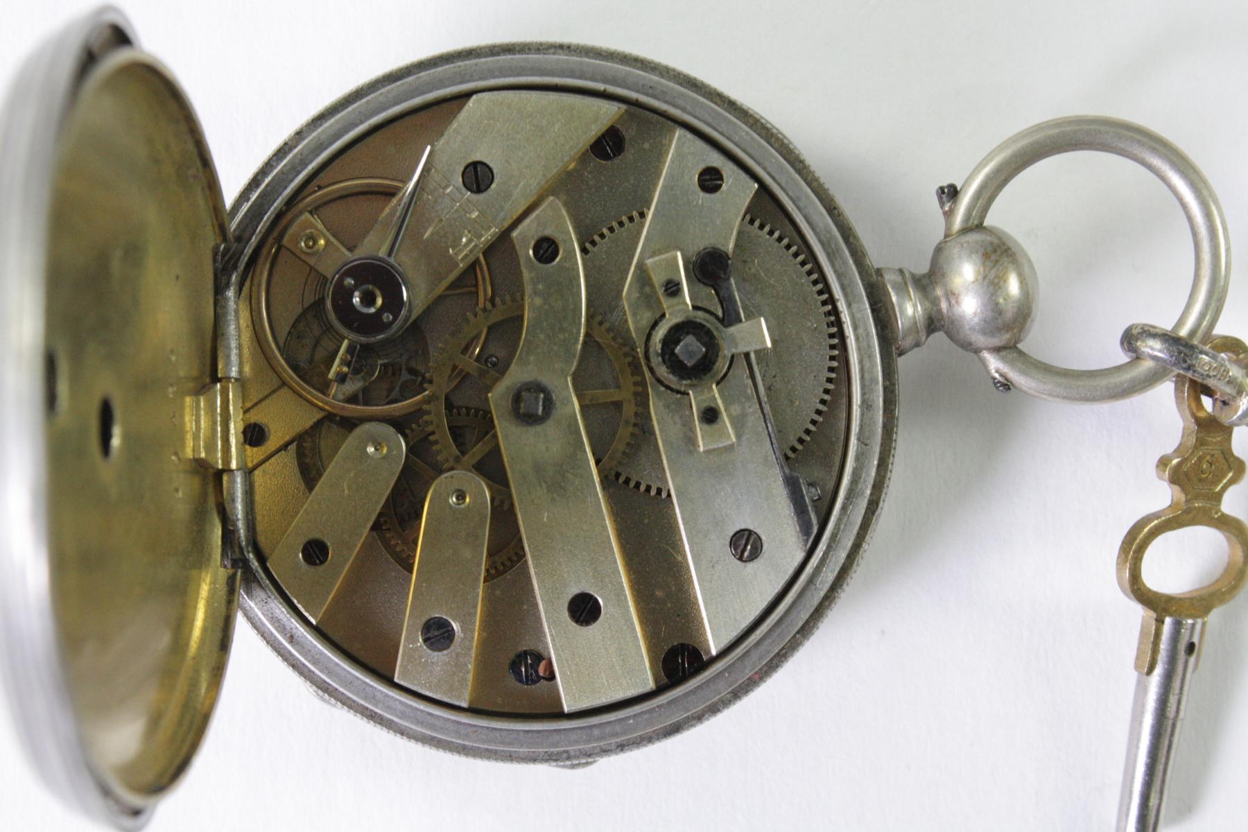 Silberne Biedermeier Taschenuhr mit Anhänger-3