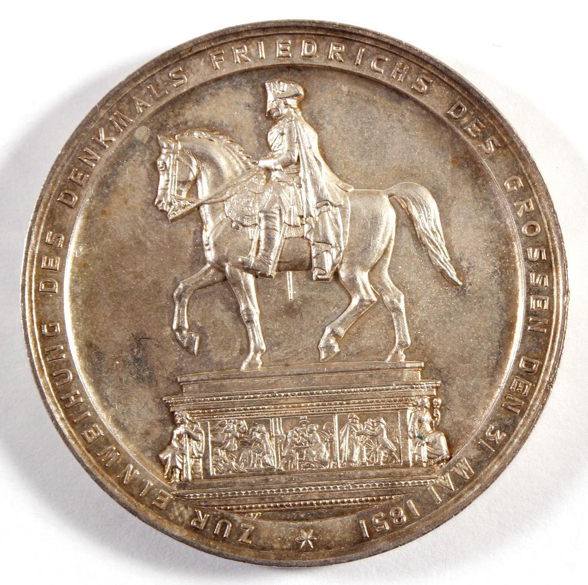 Silber-Medaille Enthüllung des Reiterdenkmals am 31. Mai 1851-2