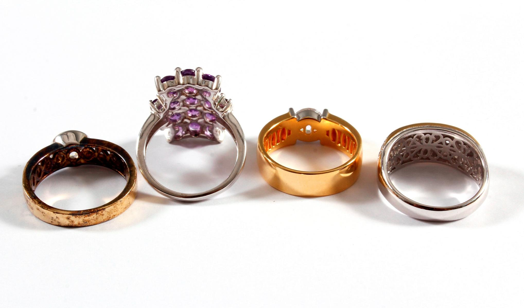 4 Silberringe mit Farb- und Glassteinen-2
