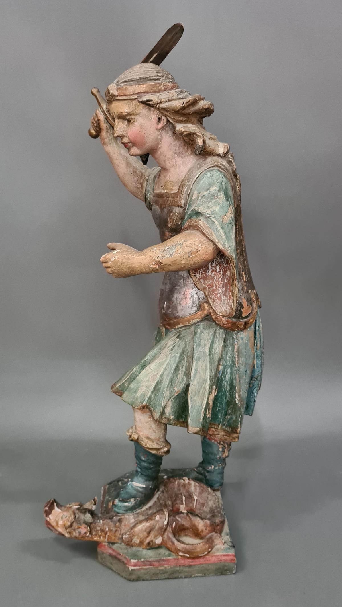 Holzskulptur Erzengel Michael mit Sockel, Süddeutsch um 1800,-8
