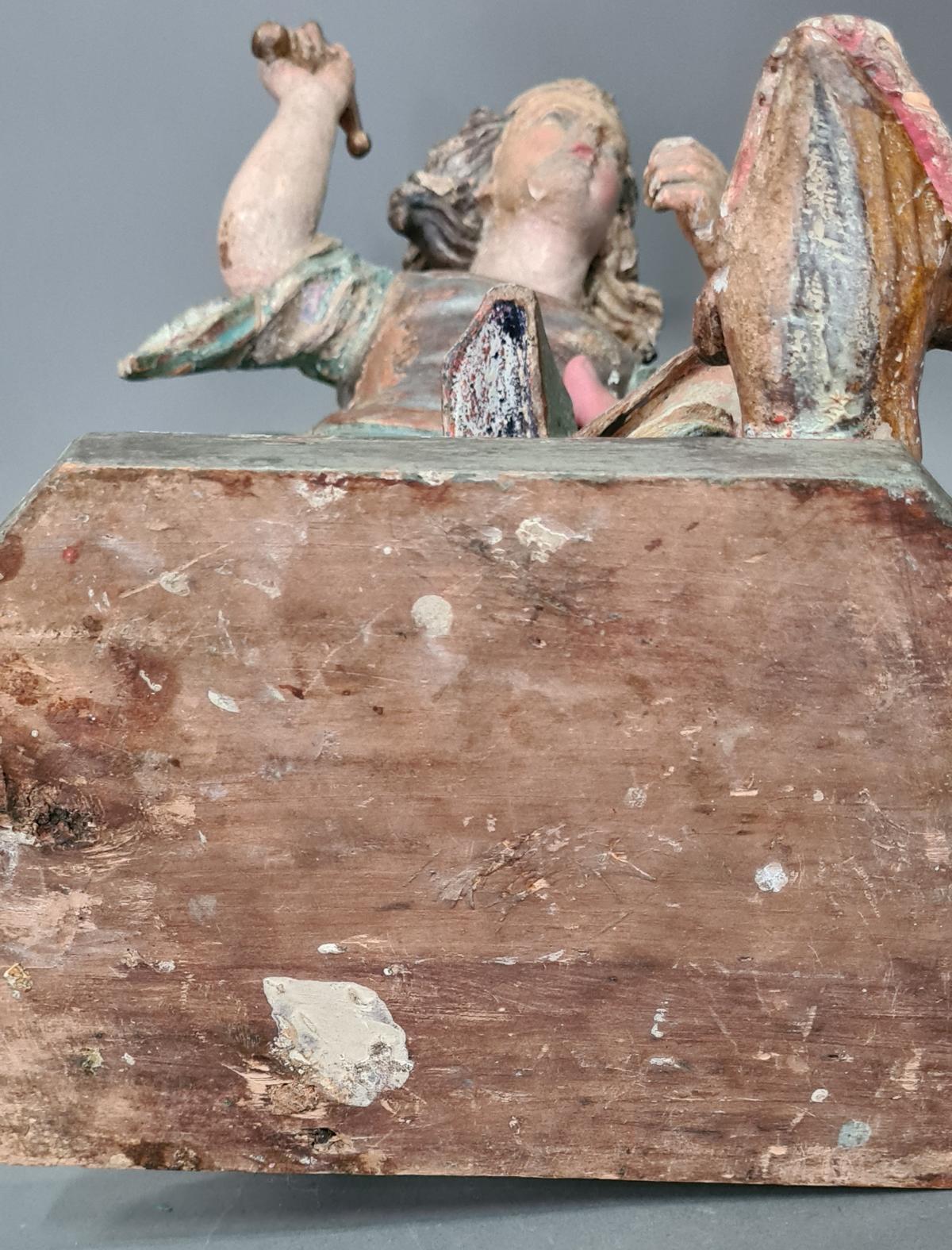 Holzskulptur Erzengel Michael mit Sockel, Süddeutsch um 1800,-14