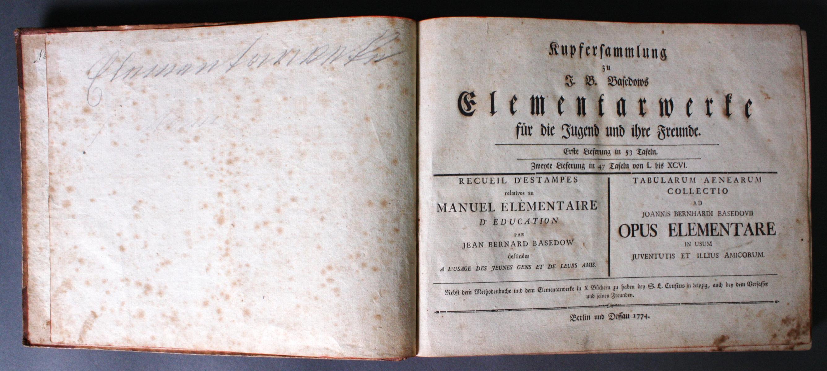 Johann Bernhard Basedow, Kupfersammlung zum Elementarwerk, 1774-2