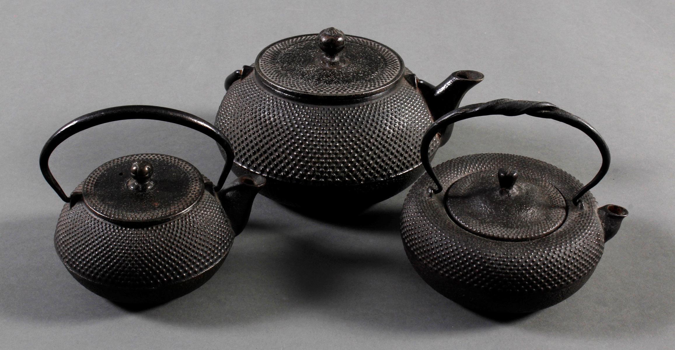 3 Teekannen (Tesubin) aus Eisen, Japan/China 19. Jh.-2