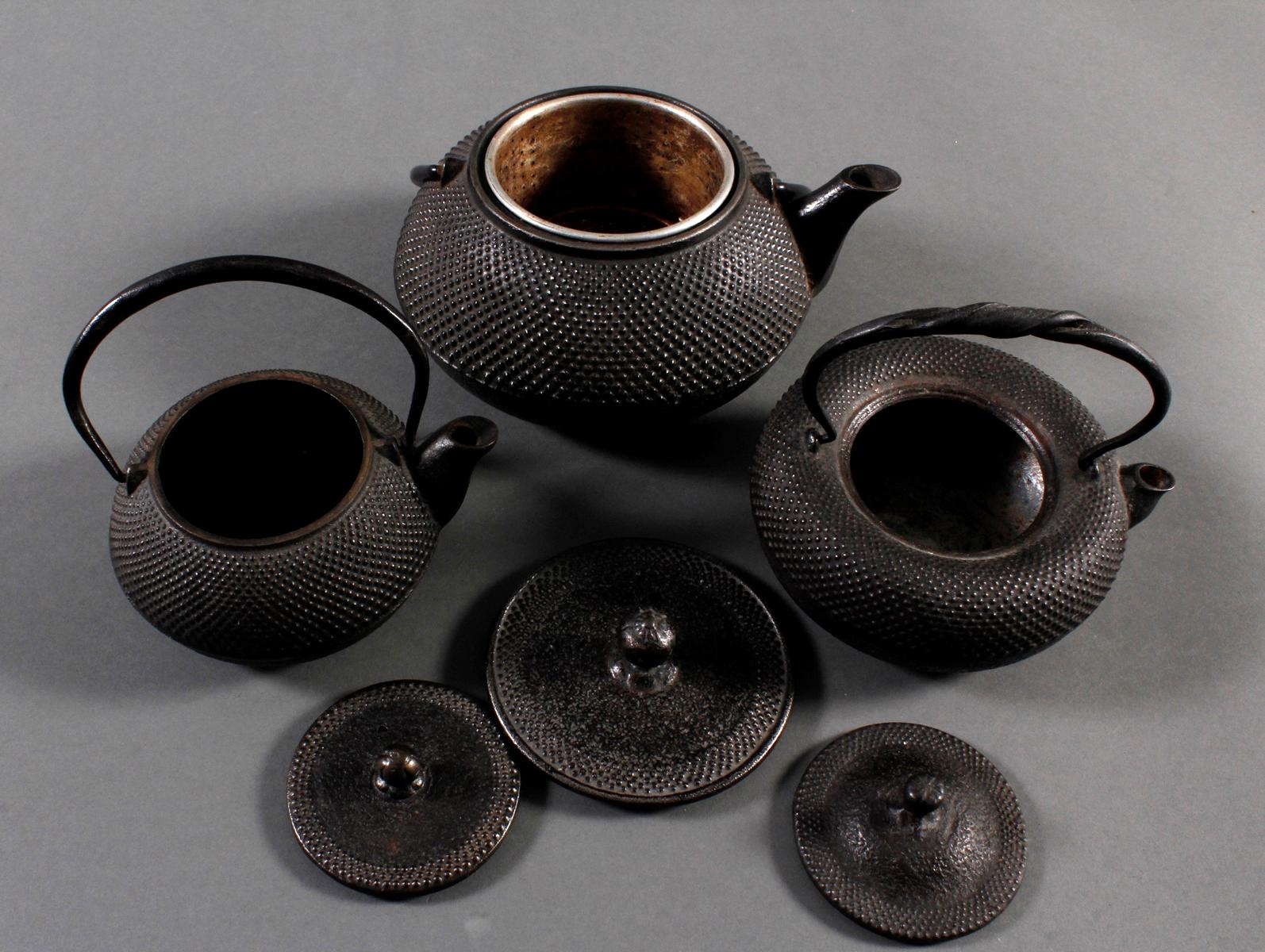 3 Teekannen (Tesubin) aus Eisen, Japan/China 19. Jh.-3