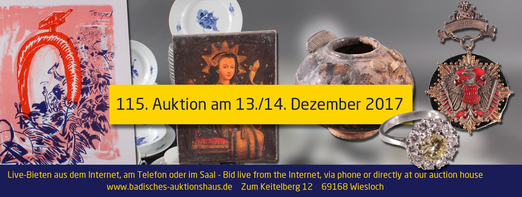 115. Auktion des Badischen Auktionshaus